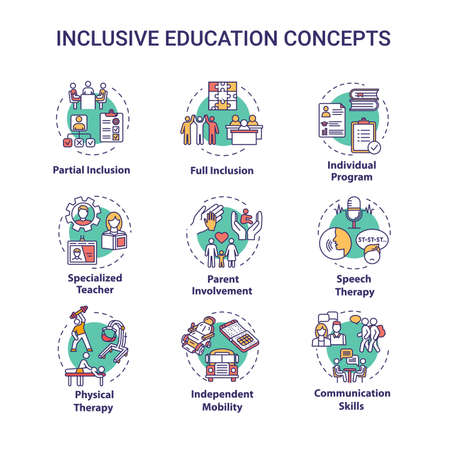Inclusive education concept icons set. Individual program. Partial and full inclusion. Specialized tuition idea thin line RGB color illustrations. Vector isolated outline drawings. Editable stroke
