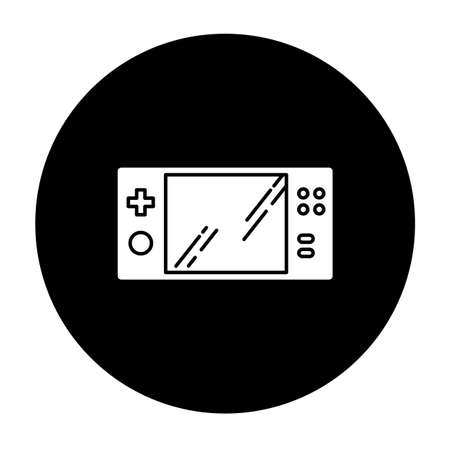 Portable video game console glyph icon. Handheld gaming gadget with buttons. Pocket electronic device for playing games. Entertainment. Technology. Vector white silhouette illustration in black circle
