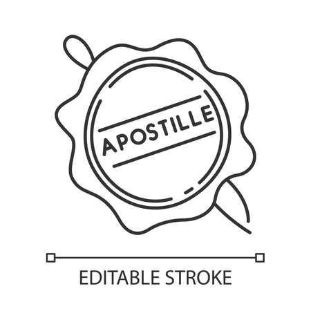 Apostille wax seal pixel perfect linear icon. Notary services stamp. Legalization. Validation. Thin line customizable illustration. Contour symbol. Vector isolated outline drawing. Editable stroke