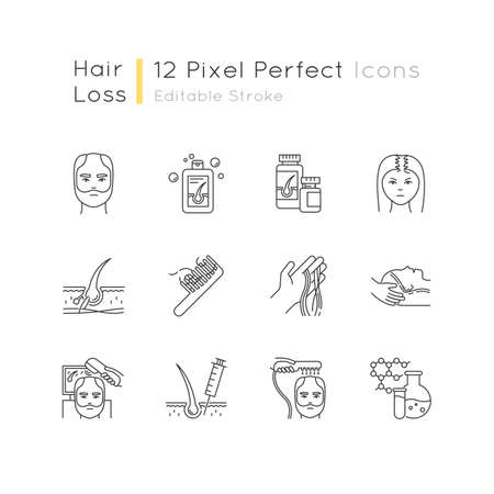 Hair loss pixel perfect linear icons set. Hair roots. Alopecia treatment. Hair strands on hand and comd. Customizable thin line contour symbols. Isolated vector outline illustrations. Editable stroke Иллюстрация