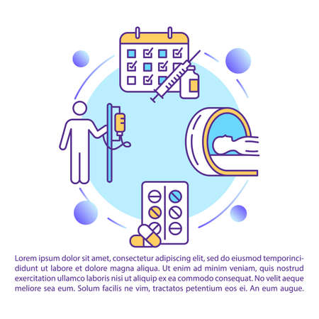 Cancer treatment concept icon with text. Radiotherapy. Chemotherapy and surgery. PPT page vector template. Oncology drug therapy. Brochure, magazine, booklet design element with linear illustrations
