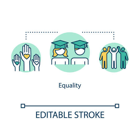 Equality concept icon. Diverse community. College graduation. Inclusive education for students idea thin line illustration. Vector isolated outline RGB color drawing. Editable stroke
