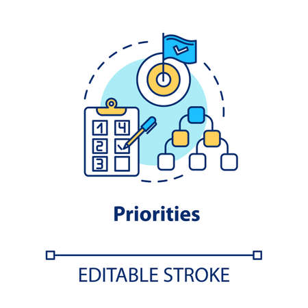 Priorities concept icon. Self-building and development. Taking on opportunities. Goal setting idea thin line illustration. Vector isolated outline RGB color drawing. Editable stroke Vettoriali
