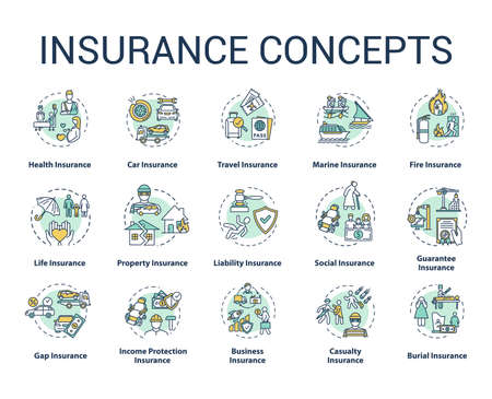Insurance concept icons set. Protection from financial loss. Legal contract. Risk management idea thin line RGB color illustrations. Vector isolated outline drawings. Editable stroke
