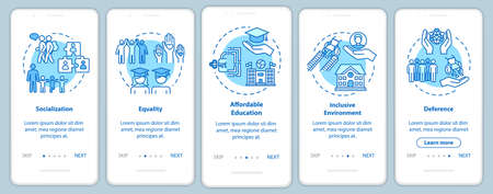 Inclusive education onboarding mobile app page screen with concepts. Special conditions for the disabled walkthrough five steps graphic instructions. UI vector template with RGB color illustrations Vector Illustration
