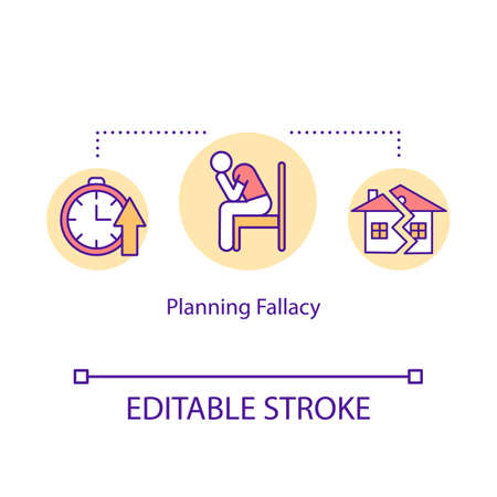 Planning fallacy concept icon. Deadline missing idea thin line illustration. Poor time management problem and mistake. Failure, life trouble. Vector isolated outline RGB color drawing. Editable stroke Illustration