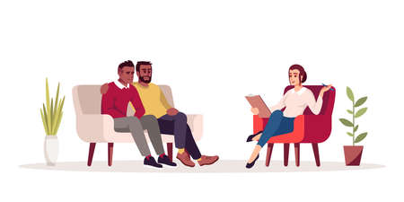 Group therapy session semi flat RGB color vector illustration. Sibling relationship issues. Same-sex marriage problems. Psychology consultation. Isolated cartoon character on white background