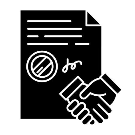 Conclusion of contract black glyph icon. Signed notarized document with stamp. Apostille. Legal agreement. Business deal. Partnership. Silhouette symbol on white space. Vector isolated illustration