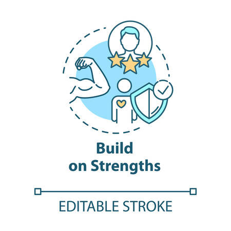 Build on strengths concept icon. SWOT strategy. Premium membership for gym. Self-development idea thin line illustration. Vector isolated outline RGB color drawing. Editable stroke