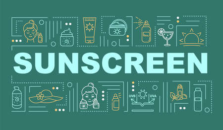 Sunscreen word concepts banner. Skincare and sun protection. Dermatology. Infographics with linear icons on blue background. Isolated typography. Vector outline RGB color illustration