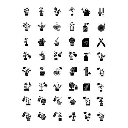 Houseplant caring black glyph icons set on white space. Indoor gardening tools and materials. Plant growing process. Watering, fertilizing. Silhouette symbols. Vector isolated illustration
