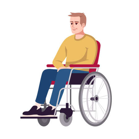 Man in wheelchair semi flat RGB color vector illustration. Disabled, handicapped person. Recovery period. Rehabilitation. Psychology consultation. Isolated cartoon character on white background
