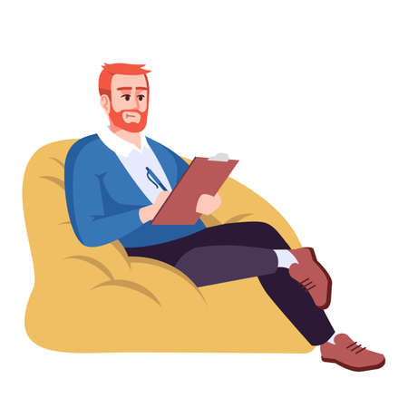 Man in sack armchair semi flat RGB color vector illustration. Guy taking notes. Businessman with clipboard. Psychologist. Psychology consultation. Isolated cartoon character on white background