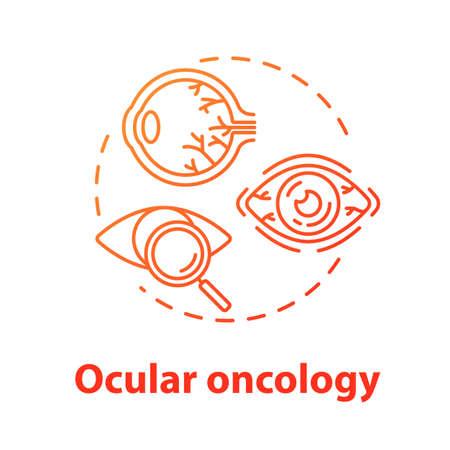 Icône de concept d'oncologie oculaire. Diagnostic et traitement des tumeurs oculaires. Structure, fonctionnement de l'oeil. Illustration de ligne mince idée ophtalmologie. Dessin de couleur RVB de contour isolé de vecteur