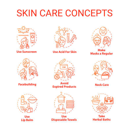 Skin care, beauty, cosmetic procedures concept icons set. Skin youth, face and body care, cosmetology idea thin line RGB color illustrations. Vector isolated outline drawings. Editable stroke