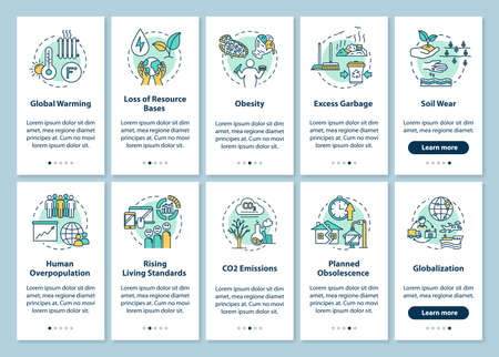 Overconsumption onboarding mobile app page screen with concepts. Environmental damage. Consumerism walkthrough 5 steps graphic instructions. UI vector template with RGB color illustrations Çizim
