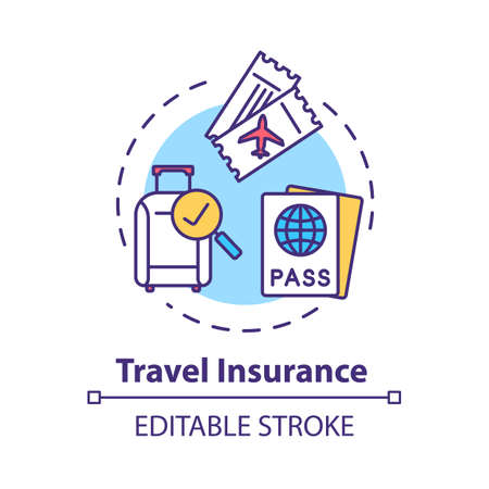 Travel insurance concept icon. Policy coverage for international tourism. Pre-paid service. Safety plan idea thin line illustration. Vector isolated outline RGB color drawing. Editable stroke Çizim