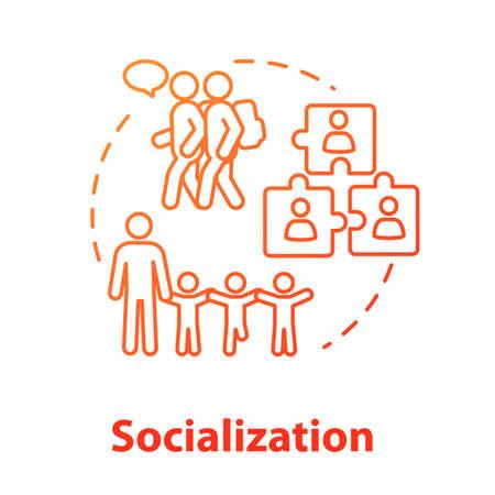 Icono del concepto de socialización. Diversidad en grupo escolar. Educación inclusiva. Adaptación social. Ilustración de línea fina de idea de comunicación. Dibujo de color RGB de contorno aislado vectorial. Trazo editable