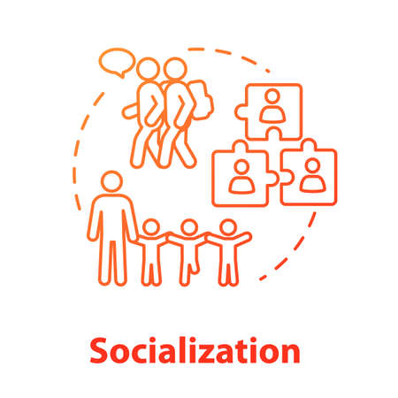 Socialization concept icon. Diversity in school group. Inclusive education. Social adaptation. Communication idea thin line illustration. Vector isolated outline RGB color drawing. Editable stroke
