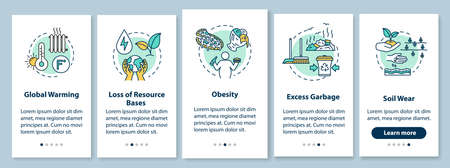 Overconsumption onboarding mobile app page screen with concepts. Global warming, soil wear. Consumerism walkthrough 5 steps graphic instructions. UI vector template with RGB color illustrations Çizim