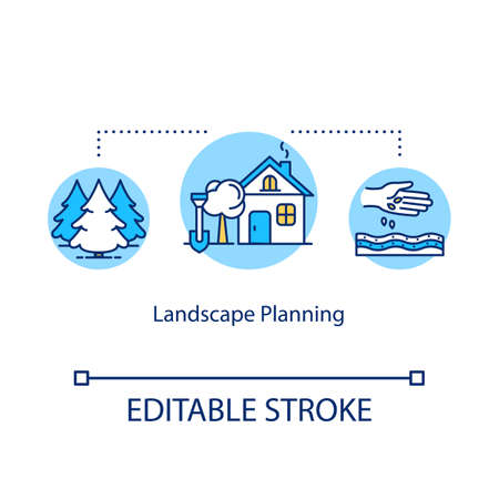 Landscape planning concept icon. Gardening and outdoor backyard works idea thin line illustration. Landscape architecture. Plants growing. Vector isolated outline RGB color drawing. Editable stroke