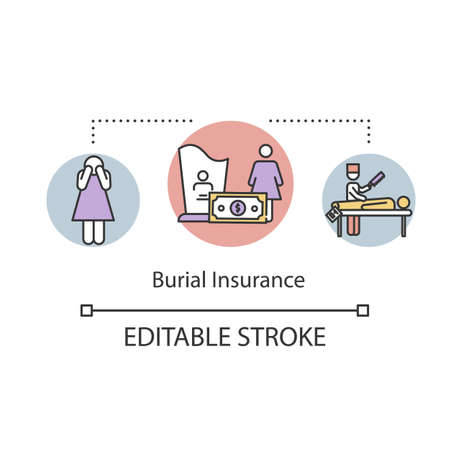 Burial insurance concept icon. Financial help with funeral. Family member loss. Monetary help idea thin line illustration. Vector isolated outline RGB color drawing. Editable stroke