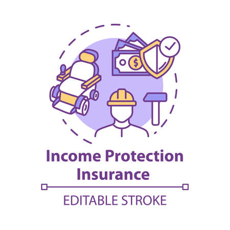 Income protection insurance concept icon. Open deposit. Work accident coverage. Personal fund. Policyholder idea thin line illustration. Vector isolated outline RGB color drawing. Editable stroke
