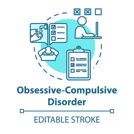 Obsessive compulsive disorder concept icon. OCD. Mental illness. Psychology, psychiatry. Healthcare idea thin line illustration. Vector isolated outline RGB color drawing. Editable stroke