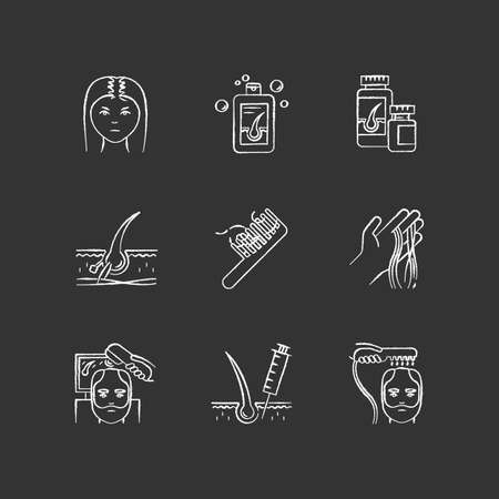 Hair loss chalk white icons set on black background. Male alopecia and female balding. Laser therapy for hair regrowth. Thinning hairline help. Isolated vector chalkboard illustrations