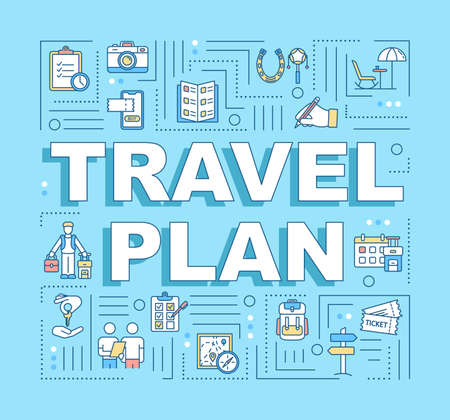 Travel plan word concepts banner. Budget trip. Money saving. Free museums. Frugality. Infographics with linear icons on blue background. Isolated typography. Vector outline RGB color illustration