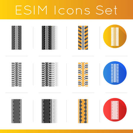 Track traces icons set. Detailed automobile, motorcycle, bike tyre marks. Car summer and winter wheel trace. Vehicle tire trail. Linear, black and RGB color styles. Isolated vector illustrations