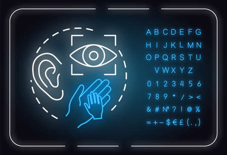 Perception neon light concept icon. Sensory organs. Sight, hearing, touch. Receiving information idea. Outer glowing sign with alphabet, numbers and symbols. Vector isolated RGB color illustration