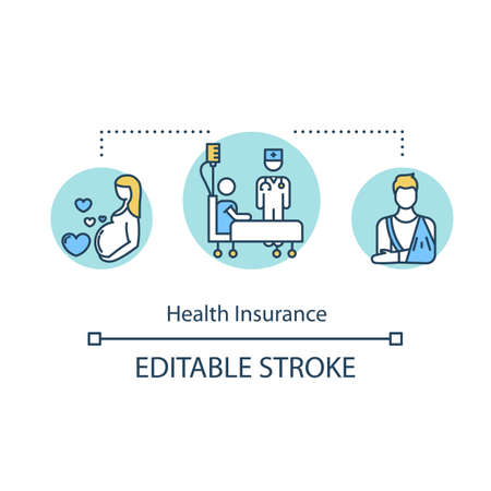 Health insurance concept icon. Paid rehabilitation. Prenatal care. Patient coverage. Hospital services idea thin line illustration. Vector isolated outline RGB color drawing. Editable stroke
