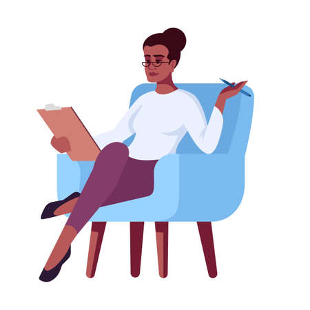 Woman in glasses with clipboard semi flat RGB color vector illustration. Interviewer. Girl in armchair. Job interview. Psychology consultation. Isolated cartoon character on white background