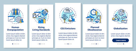 Overconsumption onboarding mobile app page screen with concepts. Globalization, overpopulation. Consumerism walkthrough 5 steps graphic instructions. UI vector template with RGB color illustrations