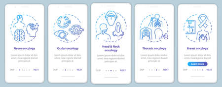 Oncology onboarding mobile app page screen with concepts. Cancer treatment walkthrough five steps graphic instructions. Ocular oncology. Thoracic cancer. UI vector template, RGB color illustrations Illustration