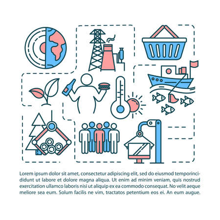 Overconsumption concept icon with text. Global damage. Human overpopulation. Pollution. PPT page vector template. Brochure, magazine, booklet design element with linear illustrations