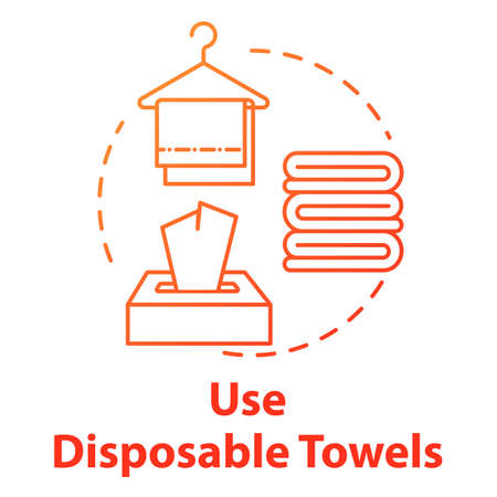 Use disposable towels and napkins, hygiene concept icon. Healthcare, antibacterial cleaning accessories idea thin line illustration. Vector isolated outline RGB color drawing. Editable stroke