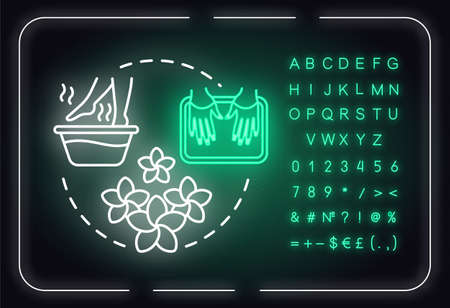 Take herbal baths, hands and feet skin care neon light concept icon. Spa, manicure and pedicure idea. Outer glowing sign with alphabet, numbers and symbols. Vector isolated RGB color illustration