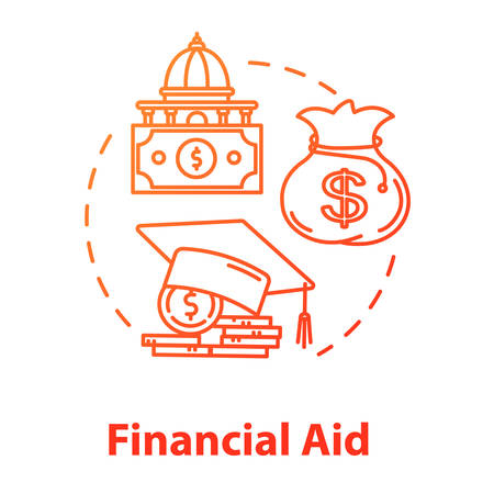 Financial aid concept icon. Student support with money. Education cost. Investment and funding. Finance idea thin line illustration. Vector isolated outline RGB color drawing. Editable stroke