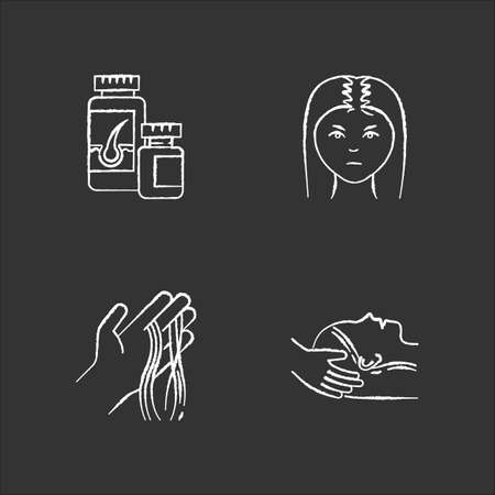 Hair loss chalk white icons set on black background. Female baldness. Alopecia treatment. Woman with thinning hair. Strands on hand. Vitamin supplements. Isolated vector chalkboard illustrations