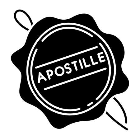 Apostille wax seal black glyph icon. Notary services stamp. Legalization. Notarization. Notarized document. Validation, confirmation. Silhouette symbol on white space. Vector isolated illustration Illustration