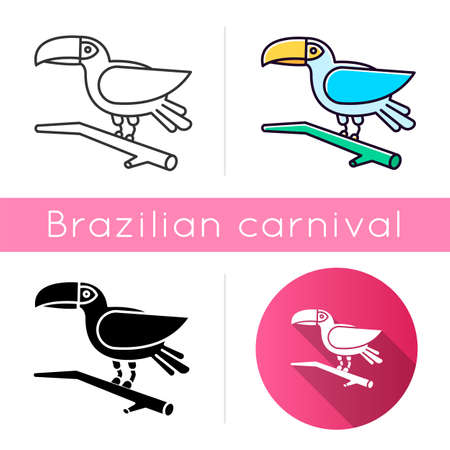 Toucan icons set. Linear, black and RGB color styles. Exotic bird. Brazilian fauna. Wildlife. Tropical birdie. Ornithology. South America wild animal. Isolated vector illustrations
