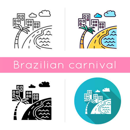 Brazil ocean beach icons set. Linear, black and RGB color styles. Skyscrapers and pond. Buildings. Road along coast with palm. San Paulo. Rio de Janeiro. Isolated vector illustrations