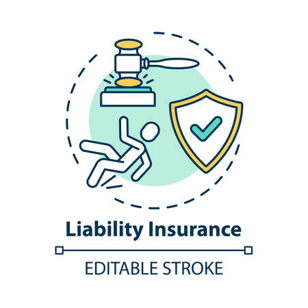 Liability insurance concept icon. Legal claim. Lawsuit for incident. Insured and guarded life. Accident idea thin line illustration. Vector isolated outline RGB color drawing. Editable stroke