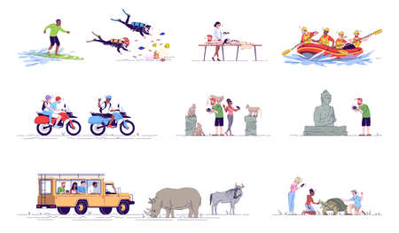 Indonesia tourism flat doodle illustrations set. Water activities. Rafting, surfing. Monkey forest. Safari trip. Summer vacation. Exotic country. 2D cartoon character with outline for commercial use Illustration