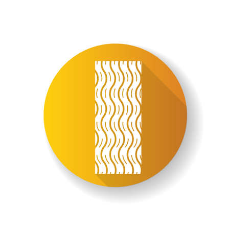 Tire tread yellow flat design long shadow glyph icon. Detailed automobile, motorcycle wave-shaped tyre marks. Car wheel trace with thin grooves. Vehicle tire trail. Silhouette RGB color illustration 向量圖像