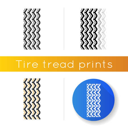 Track marks icon. Detailed automobile, motorcycle street tyre traces. Zigzag-shaped wheel print with thick grooves. Vehicle tire trail. Linear black and RGB color styles. Isolated vector illustrations
