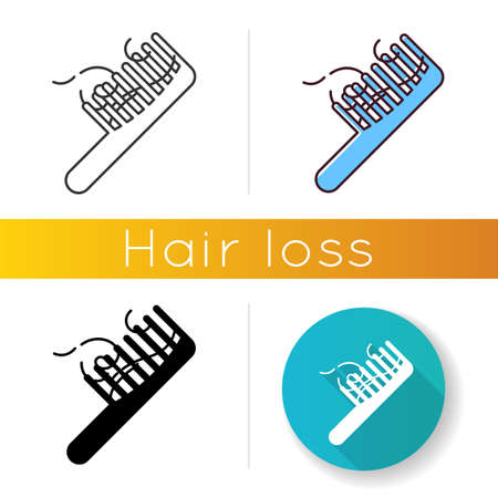 Hairbrush icon. ?omb with hair strands. Hairloss problem. Dermatology issue. Thinning and falling hair. Alopecia and balding. Linear black and RGB color styles. Isolated vector illustrations