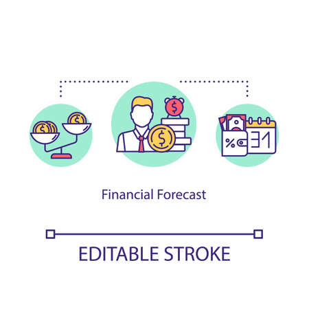 Financial forecast concept icon. Budgeting, costs planning, investing idea thin line illustration. Cash flow forecast, financial literacy. Vector isolated outline RGB color drawing. Editable stroke